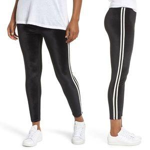 Nordstrom Black & White Stripe Velvet Leggings
